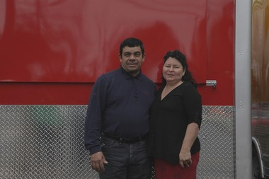 Victor Hernandez and Maria Lizama will run 5 Volcanoes, an El Salvadorian food cart in the new Portland Mercado.