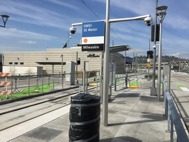 Portland's OMSI/SE Water Avenue light-rail station (with Portland Opera in the background) is coming to life.