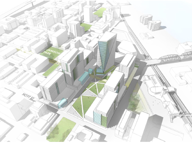 This is the Portland Development Commission's preferred vision for the 14-acre property currently home to the U.S. Postal Service.