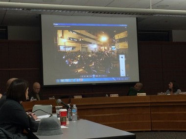 Video footage of the Portland police handling of the Nov. 29, 2014 Ferguson protest in downtown Portland was played for members of the Citizen Review Committee Wednesday night, Jan. 6, 2015. (Maxine Bernstein|Staff)