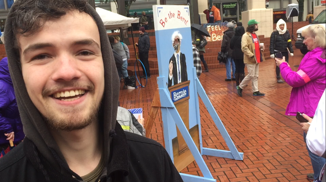 David Pritchard, 19, created this 'Be the Bern' station for the Bernie Sanders rally in downtown Portland.