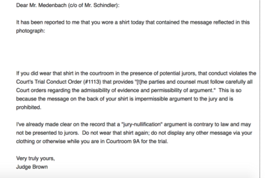 Email that U.S. District Judge Anna J. Brown sent to defendant Kenneth Medenbach Wednesday afternoon, after learning of the shirt he wore to court. (Courtesy of Kenneth Medenbach)
