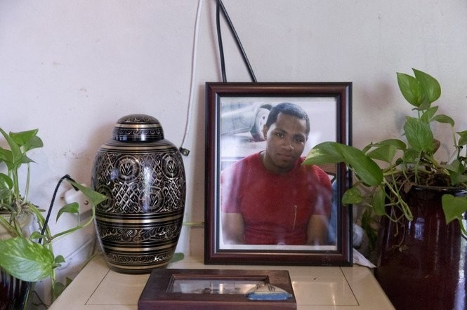 The urn containing the ashes of Larnell Bruce rests on a table in the Bruce's living room in Vancouver, Washington. BETH NAKAMURA/THE OREGONIAN/OREGONLIVE