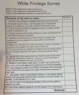 The white privilege survey sent home with Aloha High School students.