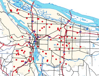 The 82 water mains that have broken in Portland in the past three weeks are located all around the city. Freezing cold weather is the main cause that led to ruptures in pipes large and small, some of which date to the 1940s or earlier. Map courtesy of the Portland Water Bureau.