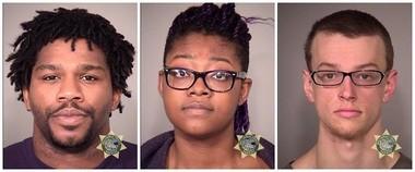 Among those arrested indowntown Portland protests Wednesday were (from left) Hollis Laray Patrick McClure, Adebisi Ashley Okuneye and Damion Zachary Feller.