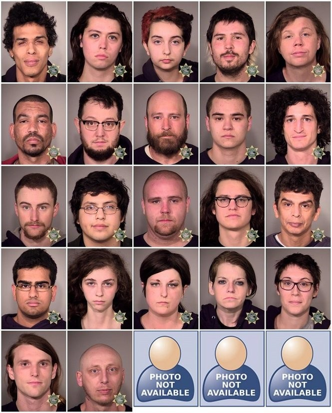Portland police released booking photos for adults arrested in a May Day demonstration that was deemed a riot on May 1, 2017.