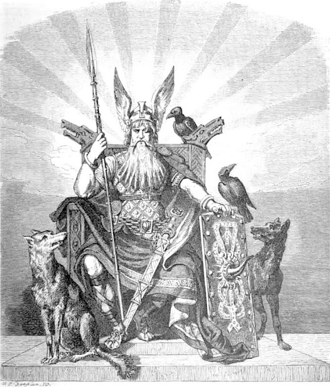 Odin, der Gottervater. Odin enthroned with weapons, wolves and ravens. 1882.