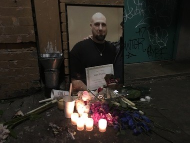 Memorial outside Cityteam Ministries for John A. Elefritz, 48.