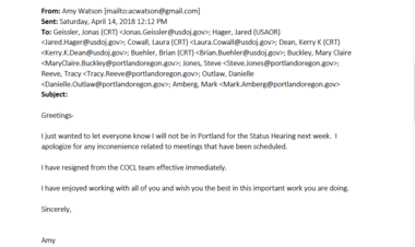 Amy Watson's email announcing her resignation from compliance team