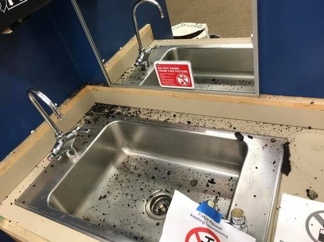 This debris-ridden sink is inside a second-floor classroom at Beverly Cleary School, which underwent renovations to help with accessibility, earthquake resistance and other issues this summer. The work is still underway, with equipment, fallen ceiling tiles, uncompleted restrooms, construction debris and other problems lurking as late as one business day before school was to open.