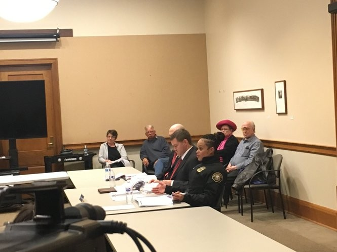 Portland Police Chief Danielle Outlaw addresses members of the city's Citizen Review Committee Wednesday night at City Hall.