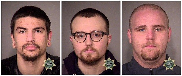 Police arrested Christopher McGregor, left, Zachary Pursley and Jeffrey Singer on Feb. 22, 2017.