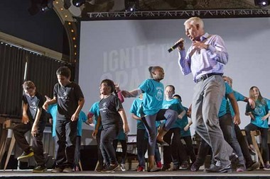"Dale Johannes acted as master of ceremonies and performed a version of ""Shake it Off"" with performers from Gilbert Heights and Menlo Park Elementary Schools."