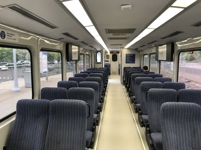 Paul Baca sits alone a few minutes before his WES train leaves for Beaverton in May. Baca said ridership is more packed during the evening commute, but he, and other commuters, say they haven't noticed a significant decline despite double digit declines reported by the agency.