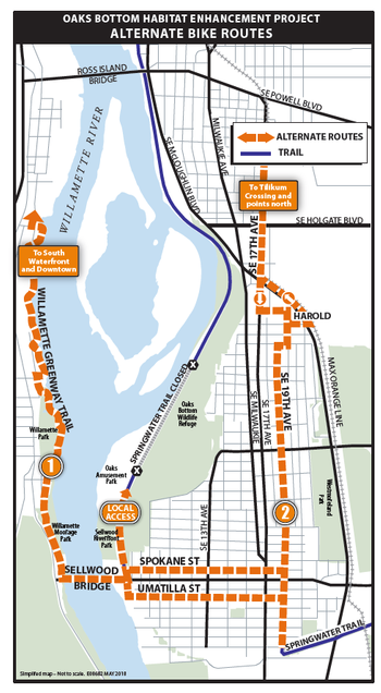 Portland officials are suggesting these routes to get around the closure on the Springwater Corridor.