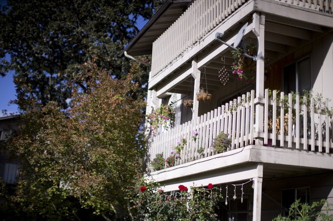 The balcony of the Winchester, Oregon, apartment where Chris Harper-Mercer moved with his mother Laurel Harper in February 2013.