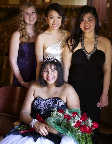 Benson High School Rose Festival Princess Erica Baldwin is accompanied by her court, Tiffany Assenberg (left to right), Jasmin Ma and Elaine Vu-Phan, on Friday after the ceremony.
