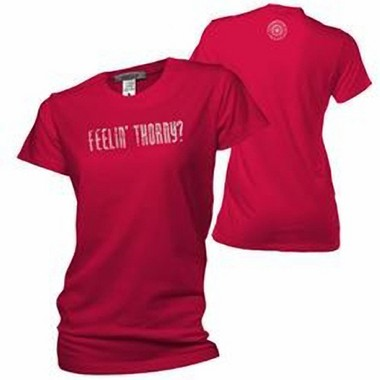 """Portland Thorns """"Feelin' Thorny?"""" shirts, banned after protesters called them too pointed."""