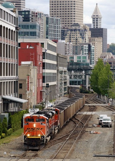 A coal train leaves Seattle for British Columbia.