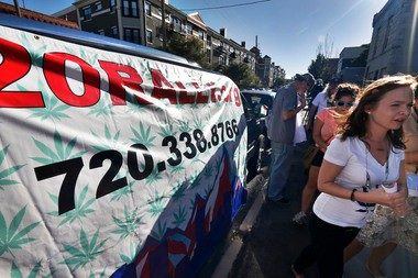 Colorado activists protest the the level of state's proposed marijuana tax.