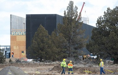 Work is under way in Prineville on the first of two, 338,000-square-foot Apple data center buildings. This photo is from February. The company has not said when it plans to open the facility.