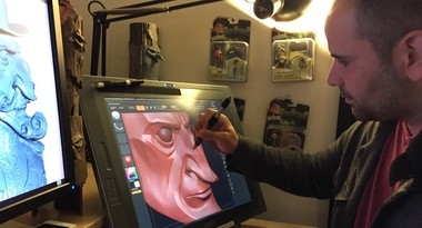 """Laika's Ty Johnson uses a Wacom creative pen display to create a digital version of a character from the 2014 film """"The Boxtrolls."""" Other Wacom customers include Pixar, Nike, Adidas, Samsung and Toshiba."""