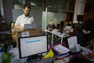 Marshall Kirkpatrick, co-founder of the startup Little Bird, at work. Kirkpatrick is a former tech journalist who decided to go across the aisle, so to speak, and create a business around a research engine for public relations and marketing firms.