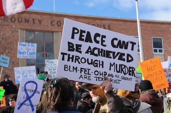 Two competing protests drew hundreds to the Harney County Courthouse in Burns on Feb. 1. One demonstration supported the armed takeover of the Malheur National Wildlife Refuge, while the other opposed the standoff. The at-times tense protests lasted for more than four hours.