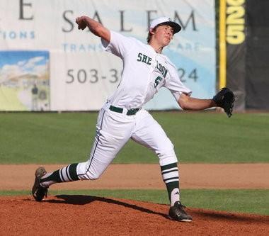 Justin Herbert pitches for Sheldon baseball last spring.