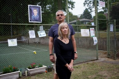 Jim and Geri Rovello return to Southeast Portland's Berkeley Park and the forlorn tennis courts where their son, Alex -- who died last May in a diving accident at Blue Pool on the McKenzie River -- learned and mastered the sport.