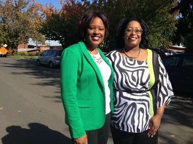 Concordia's Keylah Boyer and Faubion Principal LaShawn Lee, together once again on the street where they live.