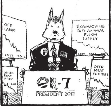 Cartoonist Jack Ohman's campaign for OR-7, the first gray wolf seen west of the Cascades since the 1940s.