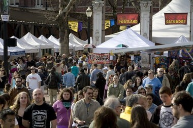 Portland Saturday Market kicked off its 2012 season opening with a crowd in nice spring weather. This year, opening-weekend weather is forecast to be in the high 50s and sunny.