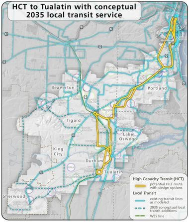 This map lays out possible routes that a new light rail or bus rapid transit line (with exclusive lanes) could go through as part of the Southwest Corridor Plan, meant to connect Portland, Tigard and Tualatin.