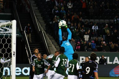 Timbers goalkeeper Donovan Ricketts continues to amaze with his recent work on the pitch. He's capable of making some big saves like this effort against San Jose, but he's also improved on his distribution from the back which helps jump start the Timbers offense.