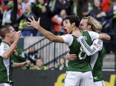 Portland Timbers midfielder Diego Valeri celebrates his goal against the New York Red Bulls on Mach 3, 2013. The goal was Valeri's first in a Timbers uniform.