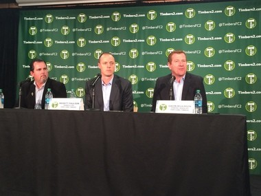 From left to right: Scott Leykam, Athletic Director for the University of Portland, Merritt Paulson, Owner and CEO of the Portland Timbers, and Gavin Wilkinson, General Manager of the Portland Timbers.