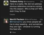 A screen shot via @timbersarmy