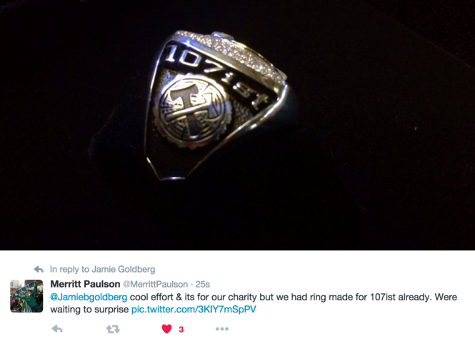 Timbers owner Merritt Paulson tweeted out a picture of the ring that the club had made for the supporters.