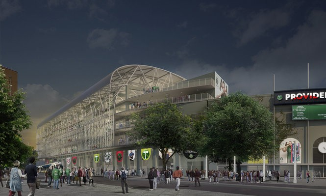 A rendering of proposed Providence Park stadium expansion from outside the park on SW 18th Ave.