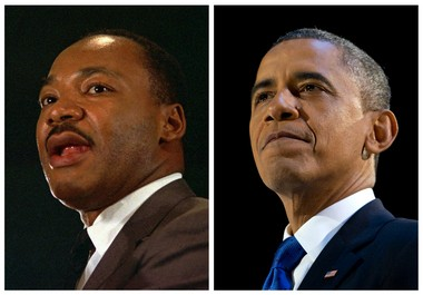 In AP file photos, the Rev. Martin Luther King Jr. speaks at a peace rally in New York on April 15, 1967, and President Barack Obama speaks at an election night party in Chicago after winning a second term in office on Nov. 7, 2012.