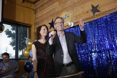 Ted Wheeler and supporters celebrate at his campaign party in Southeast Portland as he was elected mayor of Portland.