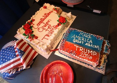Decorated cakes greet Republican presidential candidate Donald Trump supporters at the Lane County for Trump headquarters in Eugene, Ore., Tuesday, May 17, 2016.