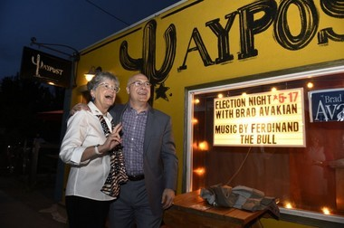 Democratic candidate for Oregon's Secretary of State Brad Avakian poses with supporter Linda Campbell at a gathering at the Waypost on Tuesday, May 17, 2016, in Portland, Ore.