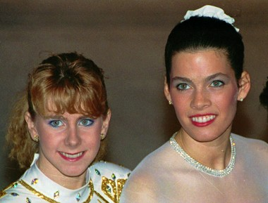 In this Jan. 12, 1992, file photo, Tonya Harding, left, and Nancy Kerrigan appear at the U.S. Figure Skating Championships in Orlando, Fla. It's been nearly 20 years since Kerrigan was clubbed after practice in Detroit by a member of a bumbling goon squad hired by Harding's ex-husband with the hope of eliminating his former wife's top competition for the U.S. Olympic team.