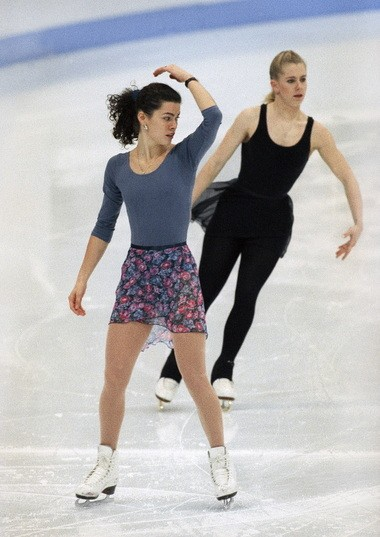 Kerrigan (left) and Harding practice before the 1994 Olympic Games in Norway, where Kerrigan takes the silver.