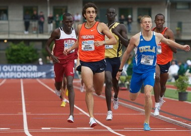 Want to watch Robby Andrews (second from the left) make an attempt at the U.S. 1,000-meter record in the Armory Collegiate Invitational on Flotrack's webcast? It will cost $20. Andrews is pictured here at the 2010 NCAA outdoor championships.