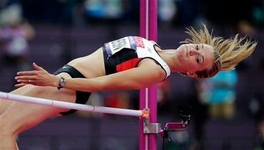 Brianne Theisen clears a bar in the high at last summer's Olympic Games in London.