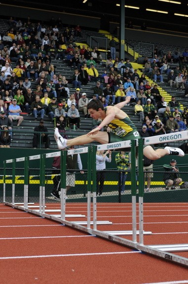 UO hurdler Johnathan Cabral, pictured here at the 2012 Oregon Relays.